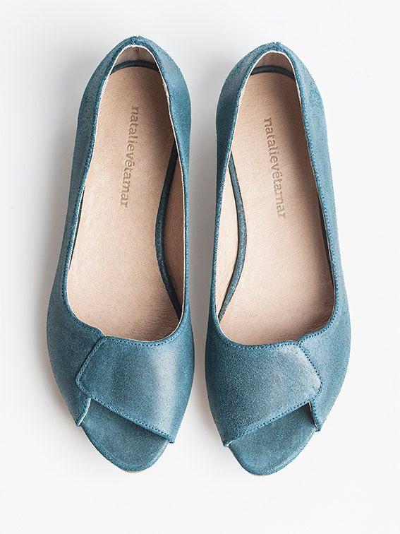941ab43dd9 SALE 35% OFF Aya aquamarine peep toes. $108.00, via Etsy. | Flats ...
