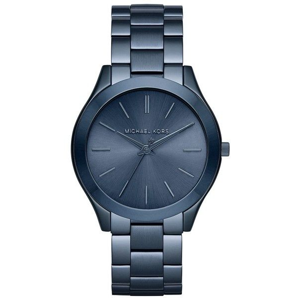Michael Kors Slim Runway Blue IP Stainless Steel Bracelet Watch ($205) ❤ liked on Polyvore featuring jewelry, watches, accessories, apparel & accessories, navy, blue dial watches, blue watches, pandora bracelet, water resistant watches and blue topaz bracelet