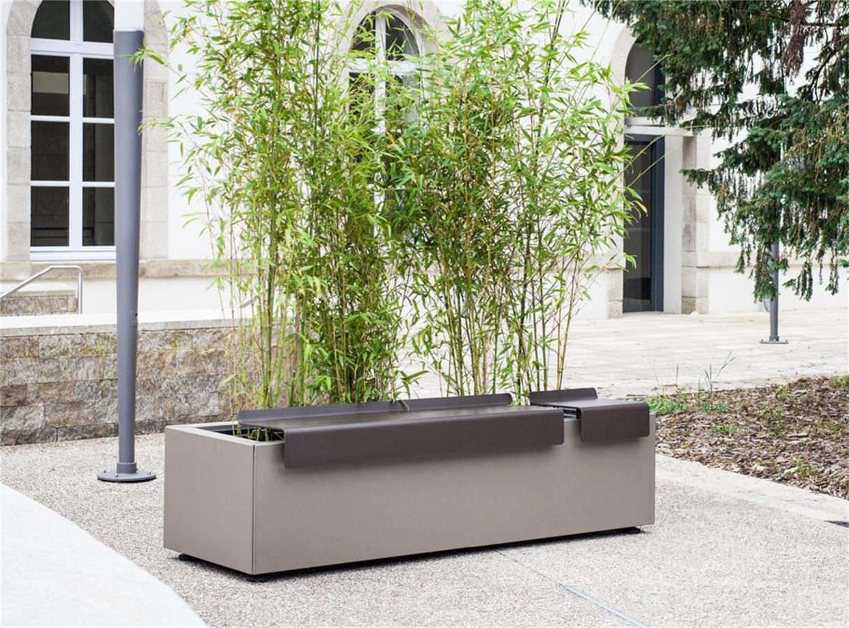 public bench  contemporary  sheet steel  with integrated  - public bench  contemporary  sheet steel  with integrated planter squareatech