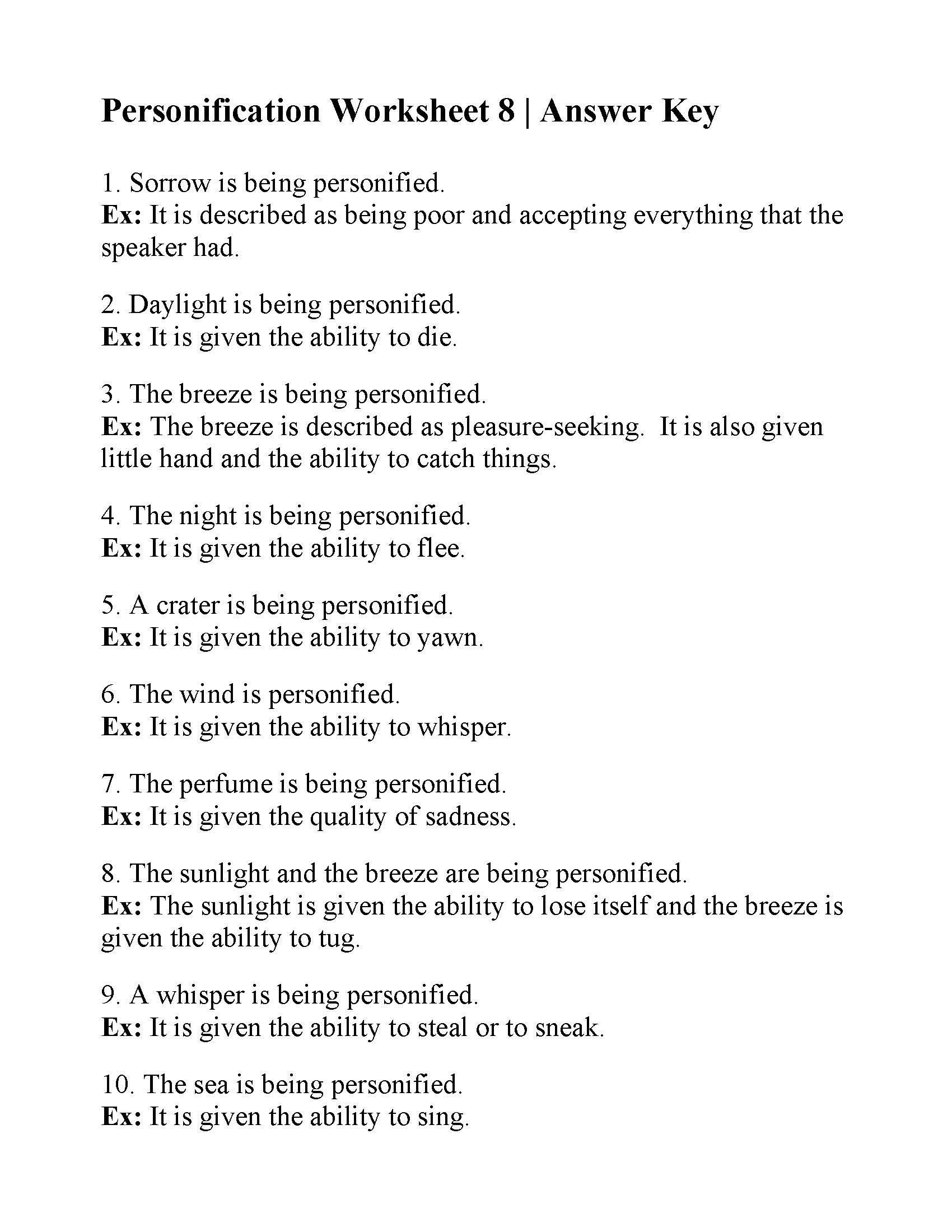 Personification Worksheets 4th Grade Personification Worksheet Answers Worksheets Math Kumon In 2020 Personification Reading Practice Worksheets Worksheets