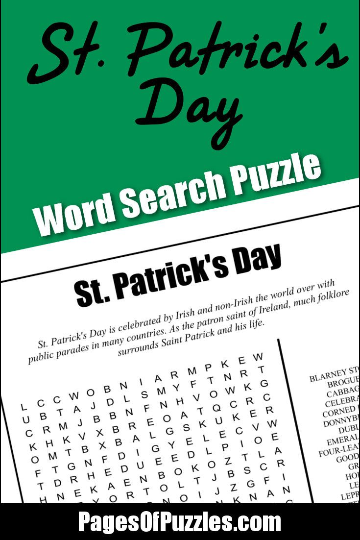 A fun printable word search puzzle for St Patrick\'s Day featuring ...