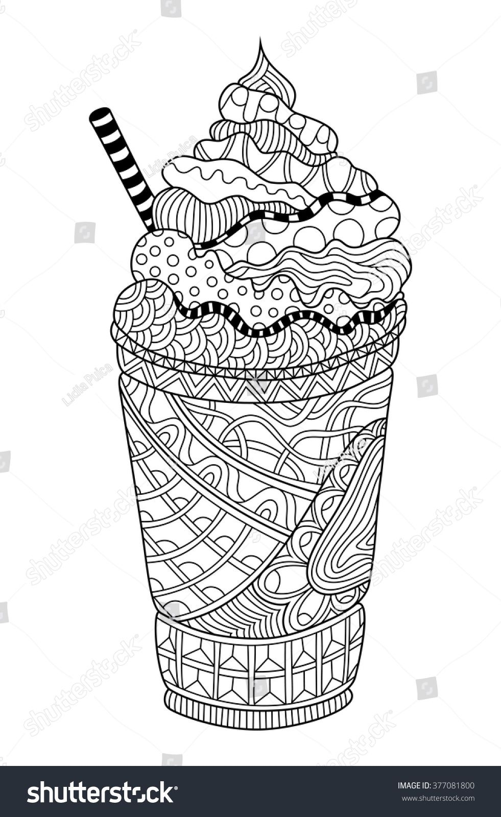 Latte Coloring Book Illustration fruits and juice
