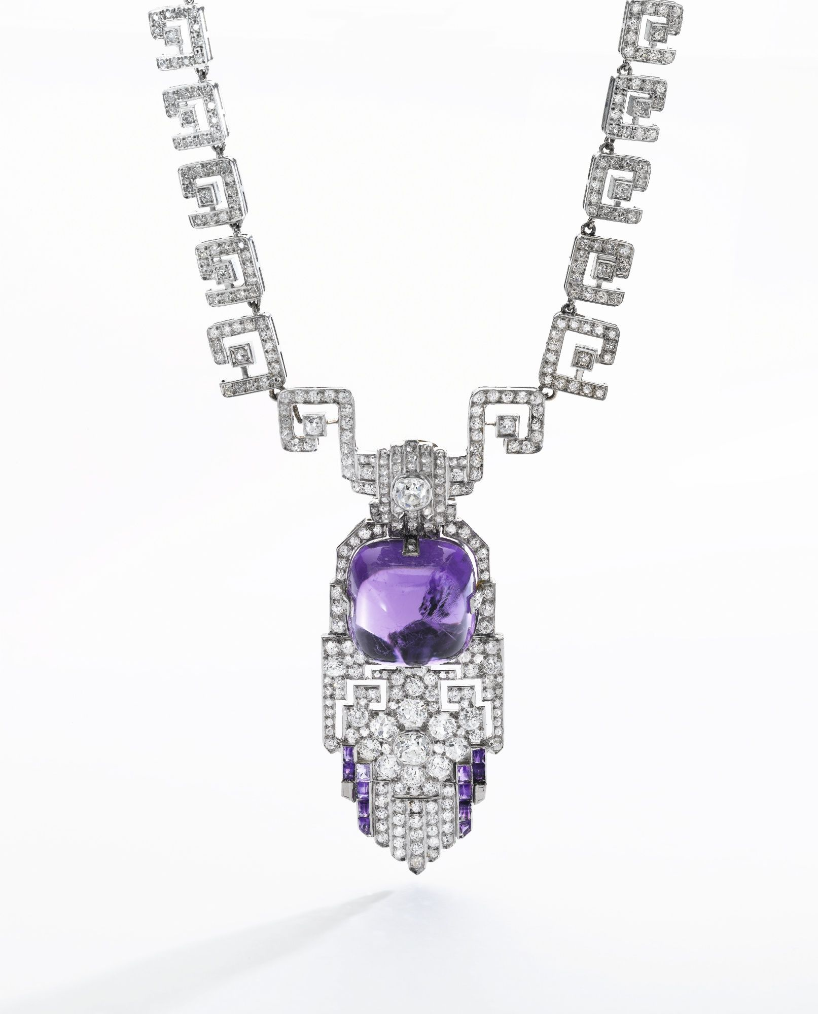 Amethyst and diamond pendant necklace designed as a chain of