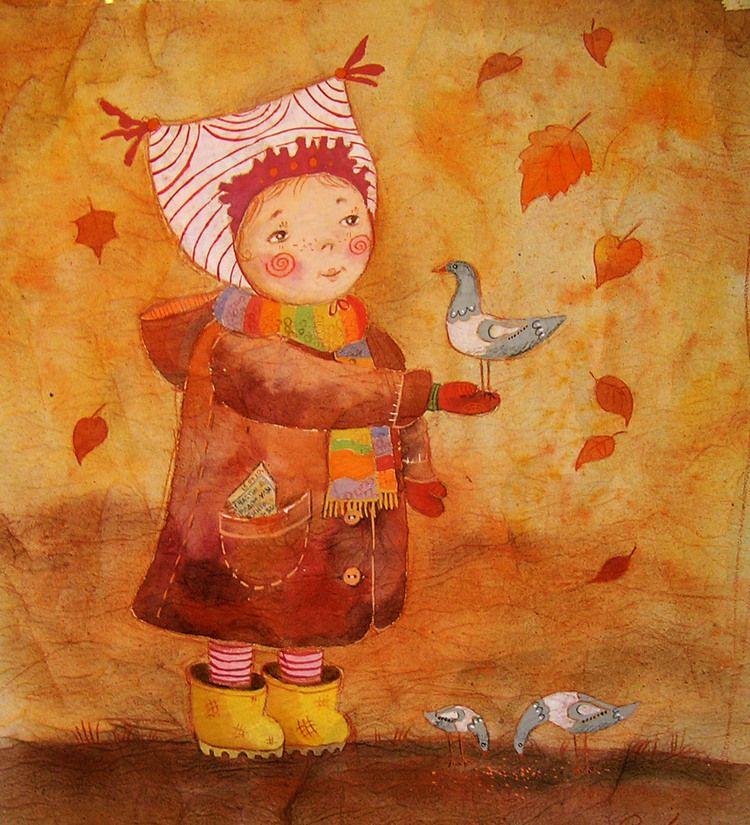 Картинки девочка и осень рисунки