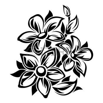 abstract flowers flowers black and white ornament vector illustration