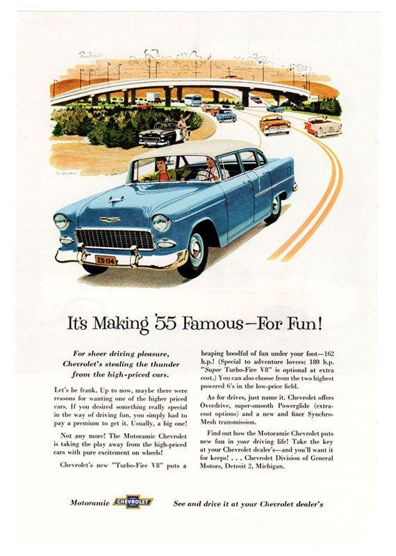 Vintage Car Ad 1955 Chevy Bel Air Ad 1950u0027s By TennaTATS On Etsy, $6.99