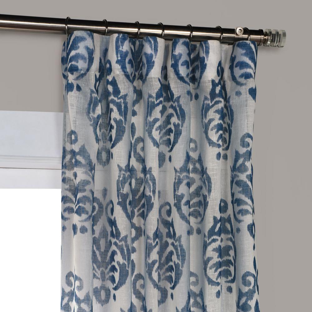Exclusive Fabrics Furnishings Fresco Blue Printed Sheer Curtain