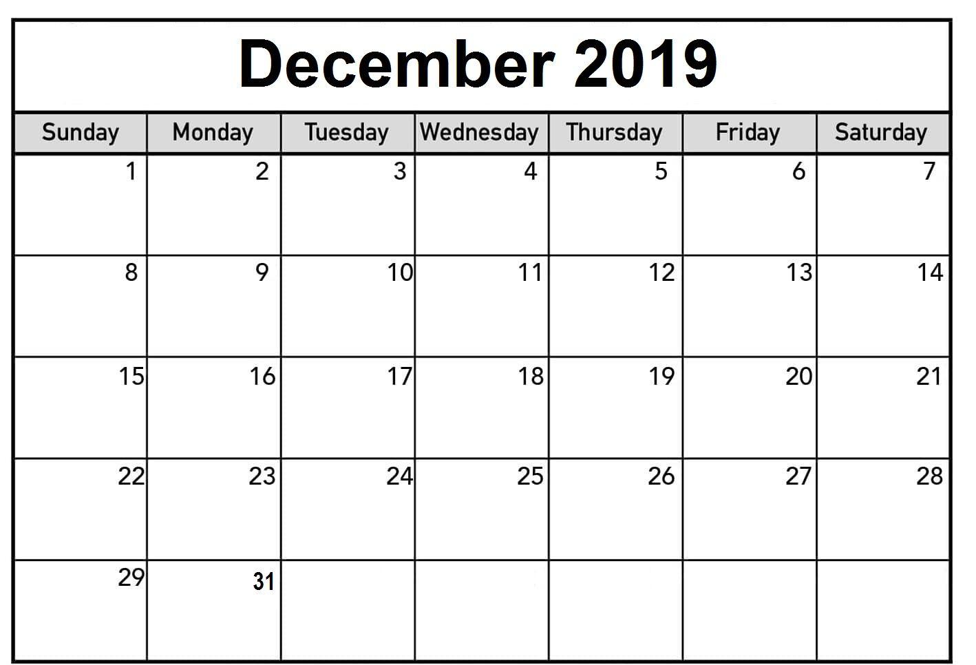Event December 2019 Calendar Printable Calendar Printables 2019