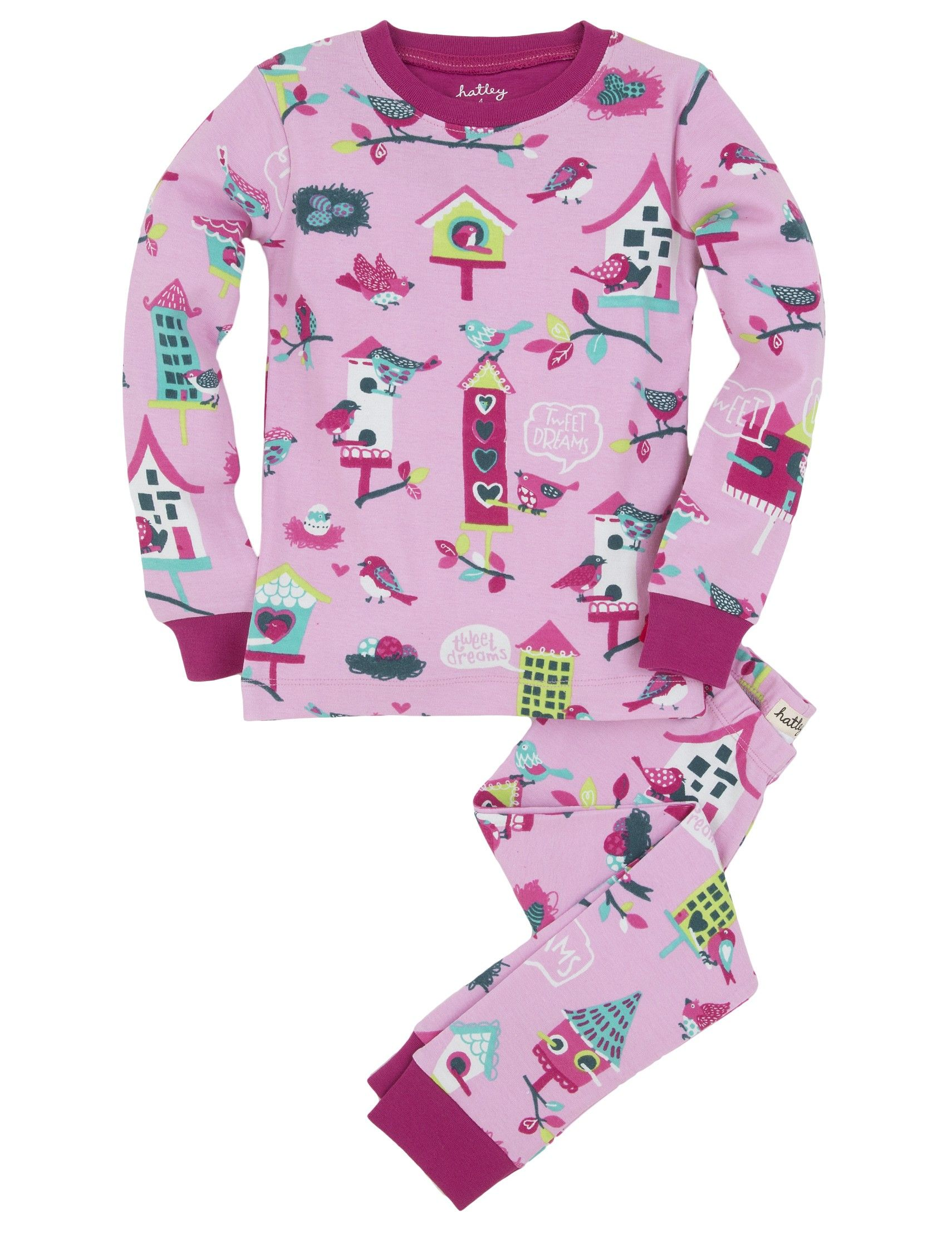 Features:Overall bird houses printSnug fitting with long sleevesContrast cuffsElastic waist on bottomsSuper fun original Hatley printsSizes: 2, 3, 4, 5, 6, 7, 8, 10, 12. Check drop down list for size availability. 100% Cotton.