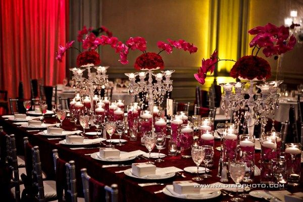 Indian Weddings Reception Centerpieces Hot Pink Maroon Red White Cream