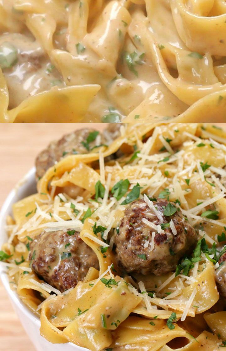 Photo of One-Pot Swedish Meatball Pasta – Here's what you need: ground beef, seasoned bread crumbs, onion