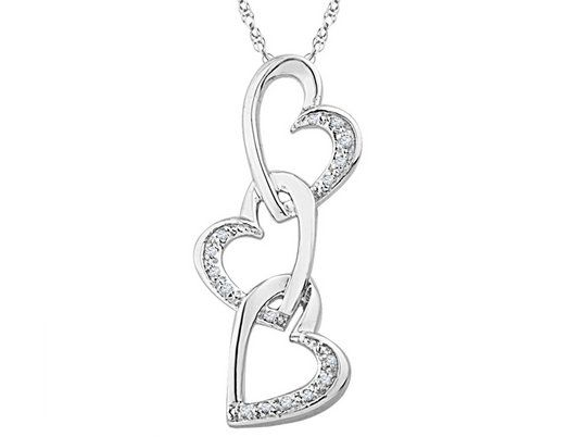Diamond triple heart pendant necklace in sterling silver with chain diamond triple heart pendant necklace in sterling silver with chain aloadofball Images