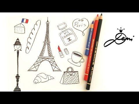 Frankreich Schnell Zeichnen Lernen Eiffelturm Paris Doodles