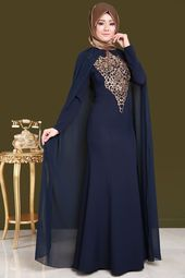Photo of Chiffon Cape Hijab Evening Dress RZ6217-S Laci- Şifon Peleri…