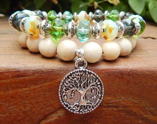 Picasso Czech Bracelet, Tree of Life Bracelet, Boho Bracelet, Nature Jewelry, Bohemian Jewlery, Picasso Czech Jewelry, Green Bracelet by BlueStoneRiver on Etsy https://www.etsy.com/listing/201134244/picasso-czech-bracelet-tree-of-life