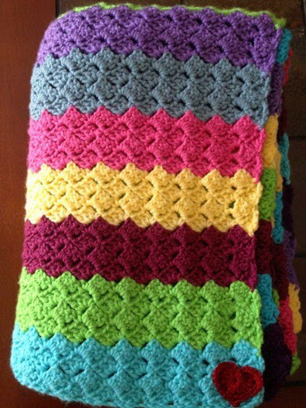 Rainbow Blanket with Free Pattern. | crocheting | Pinterest | Manta ...