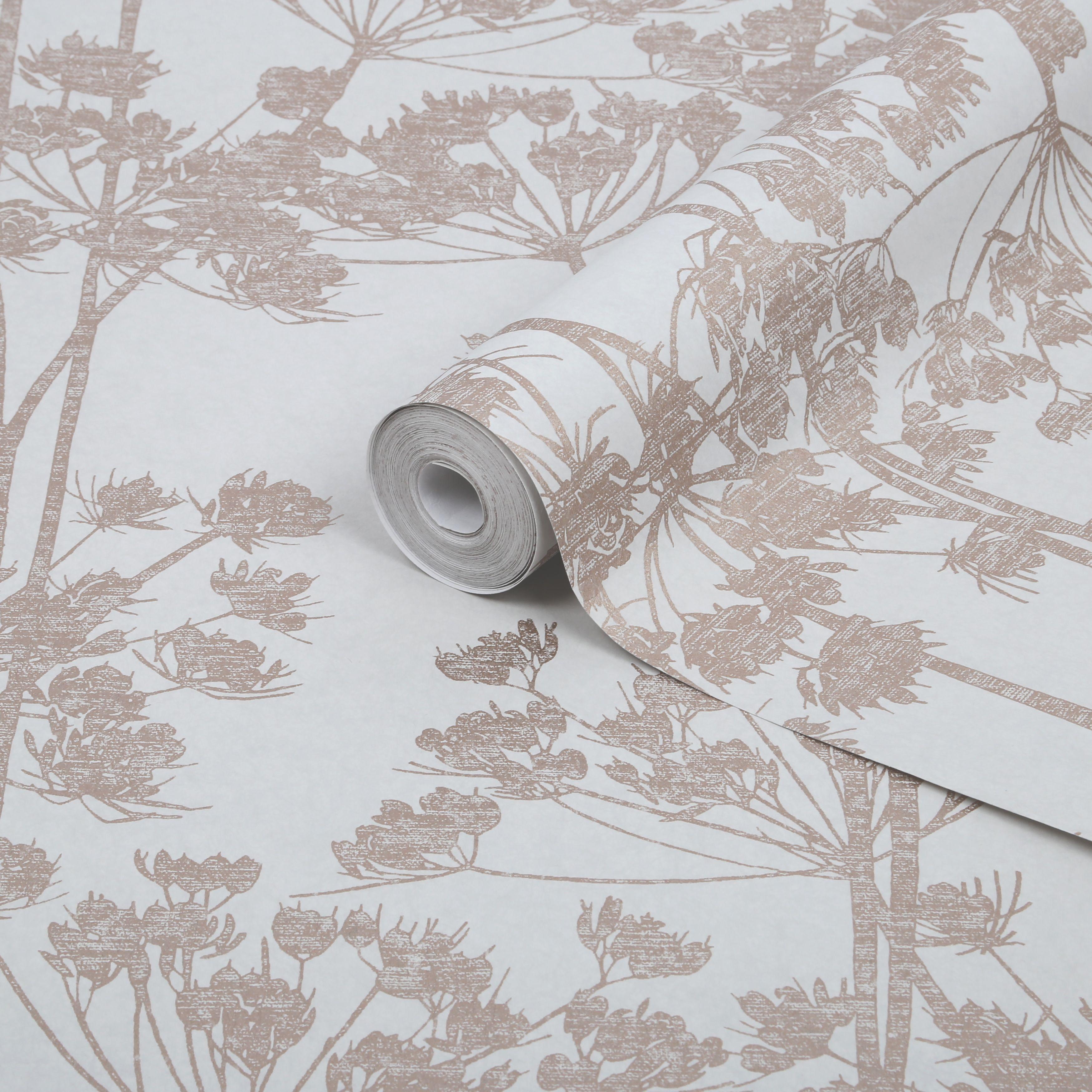 Graham Brown Angelica Rose Gold Trail Metallic Effect Wallpaper