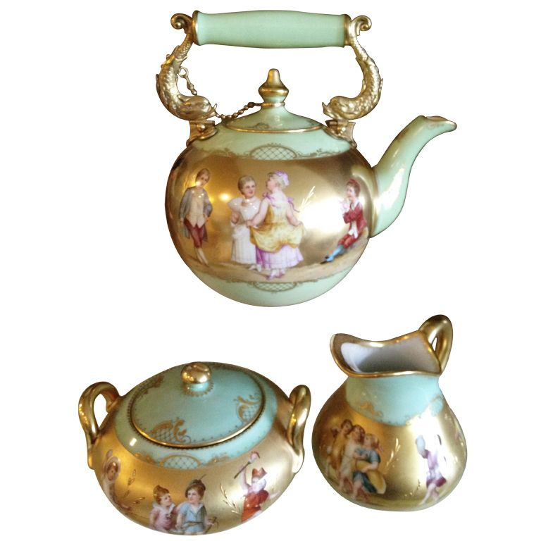 19th Century Royal Vienna Style 3 Piece Tea Set Hand Painted