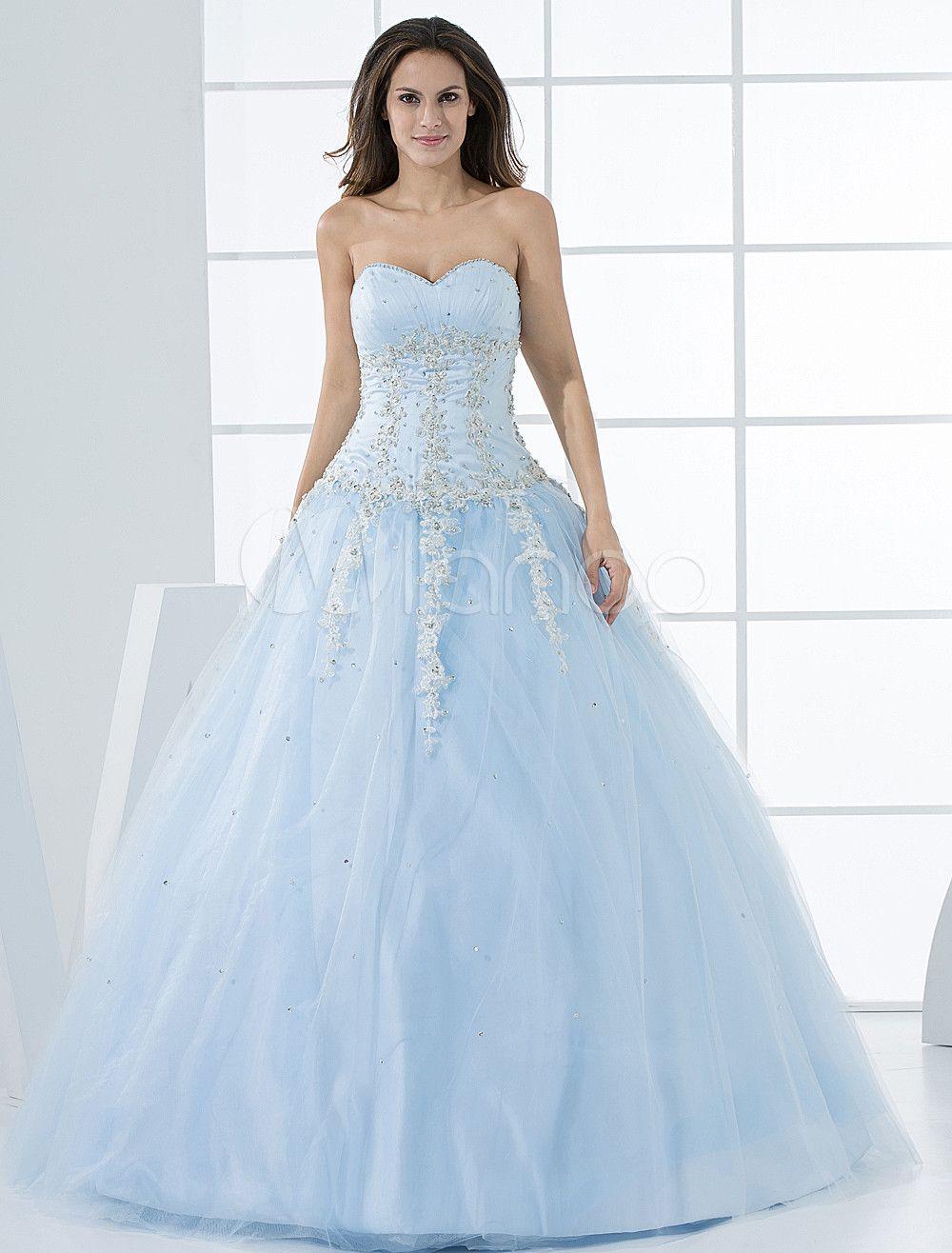 51b0c581d94 Princess Wedding Dresses Pastel Blue Quinceanera Dress Lace Applique ...