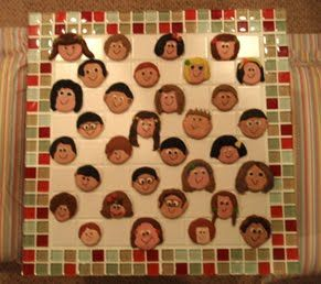 Checker board - markers are clay self portraits of the kids.