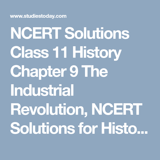 Ncert Solutions Class 11 History Chapter 9 The Industrial