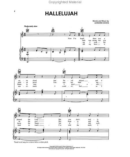 Hallelujah Lyrics And Piano Sheet Music: Hallelujah Sheet Music By Leonard Cohen