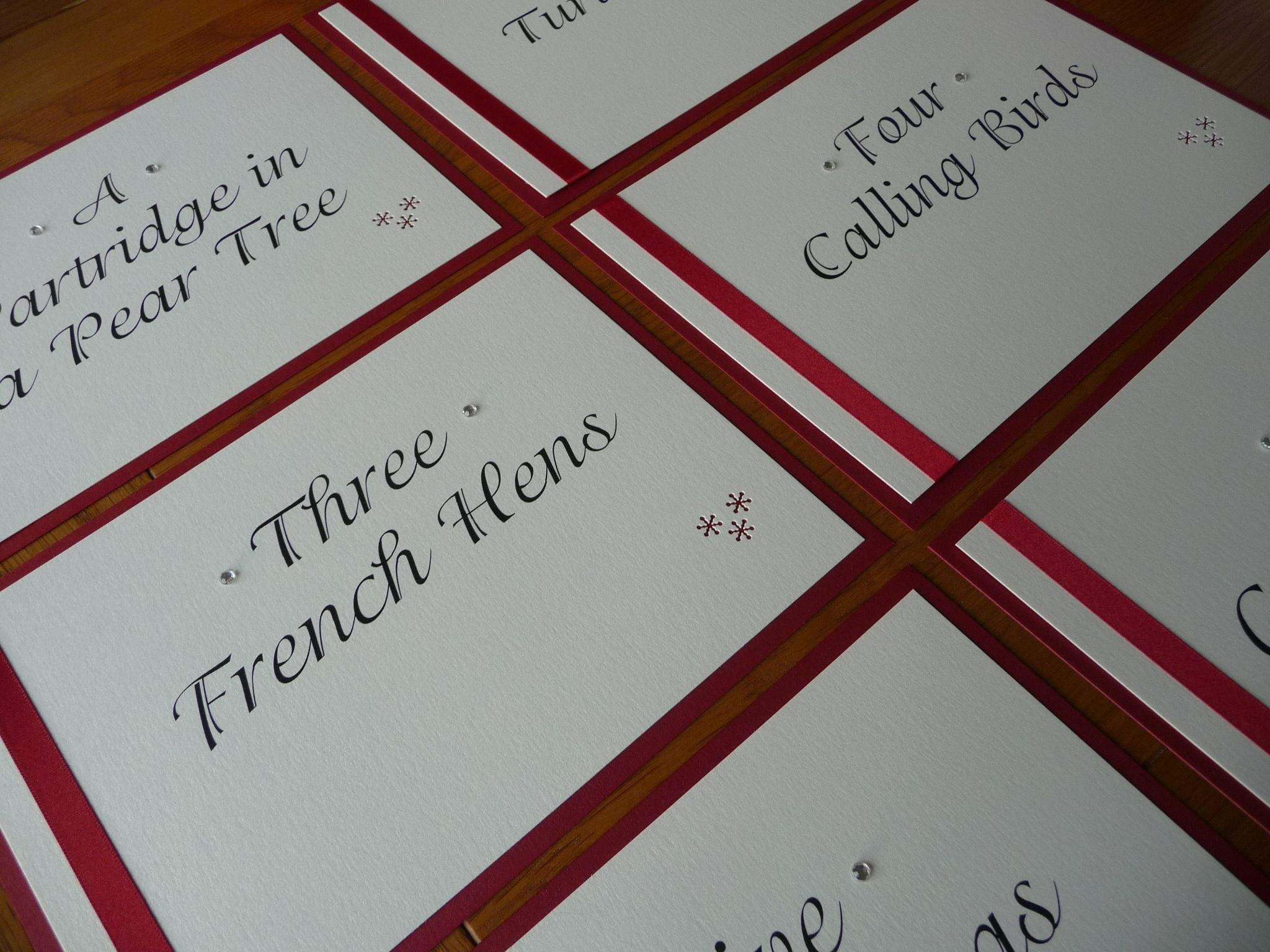 Wedding Table Names Based On The 12 Days Of Christmas Www Idodesigns