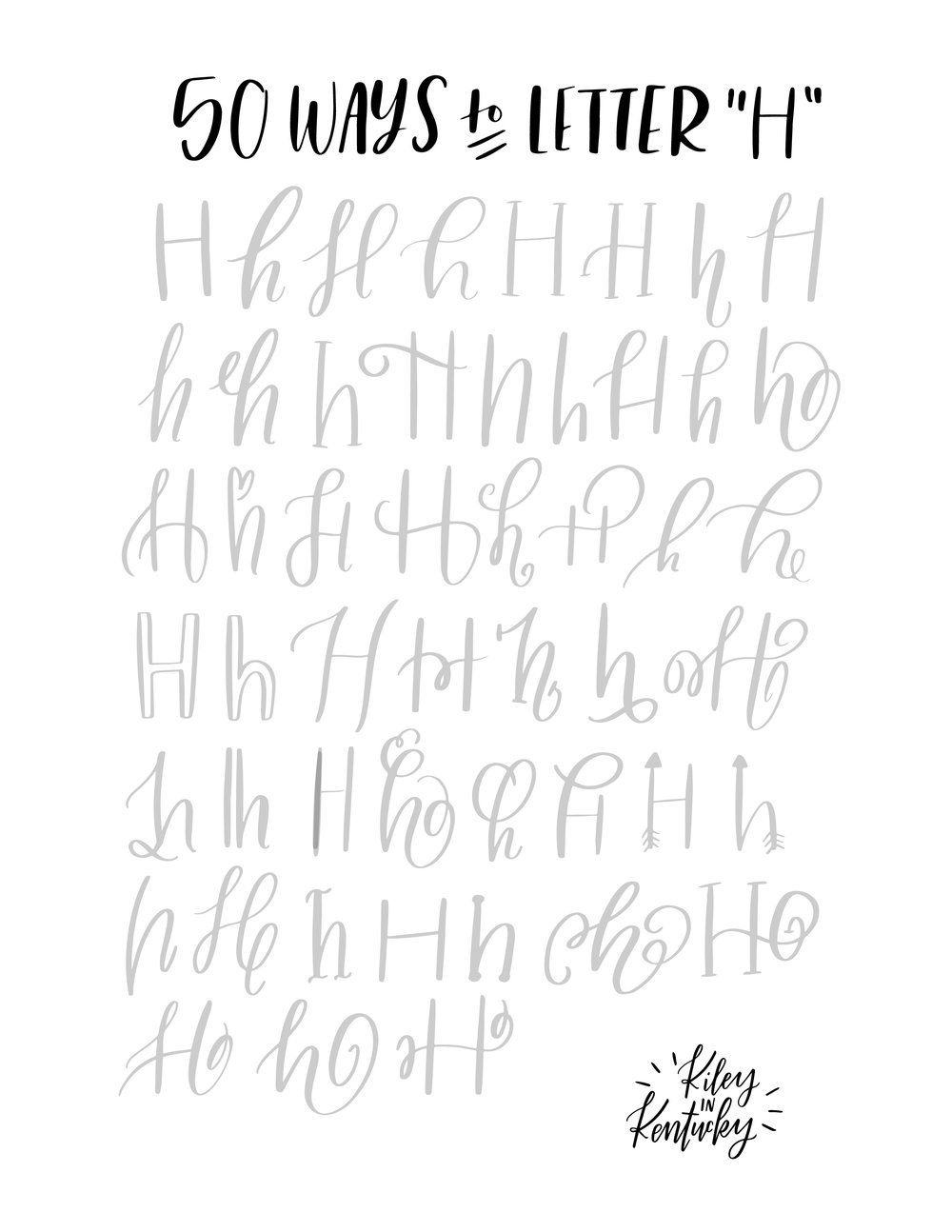 Fifty ways to drawn an quot h brush lettering practice a