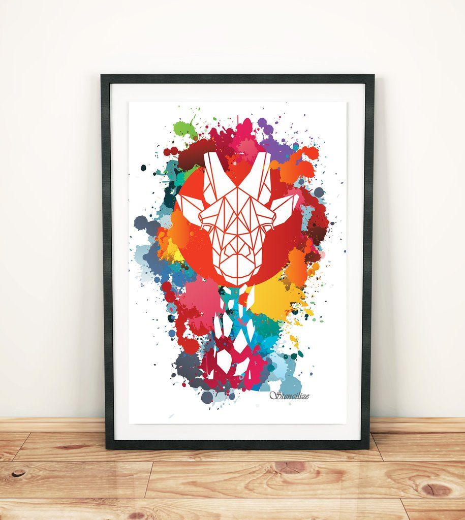Giraffe Paint Splash Art Print, Geometric Animal Design   Paint ...