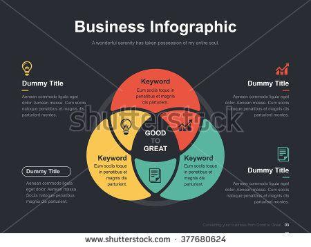 Flat Business Presentation Vector Slide Template With Circle Venn