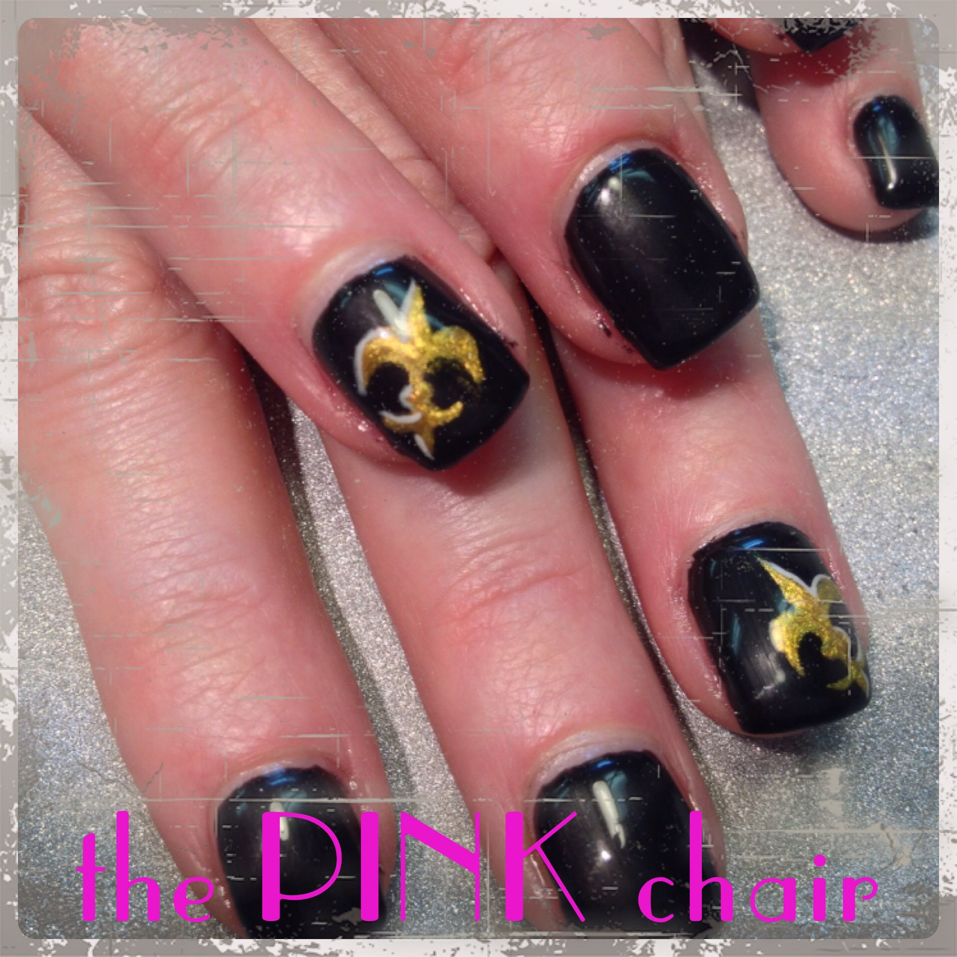 New Orleans Saints Nails for her trip to NOLA. Hand painted using ...