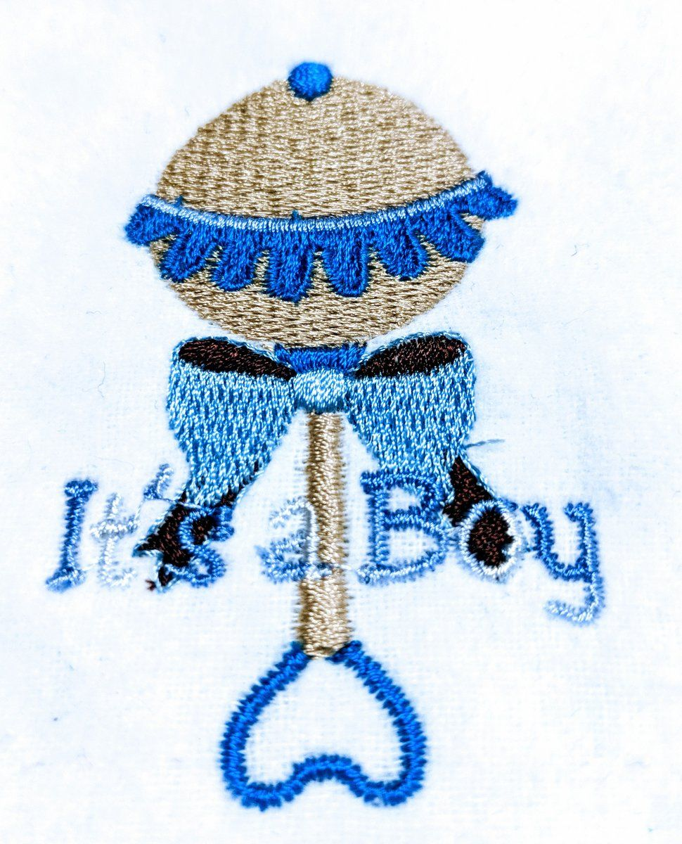 Handmade Embroidered Bag | Baby Shower Gift Bags for Guests| Its a Boy Baby Rattle