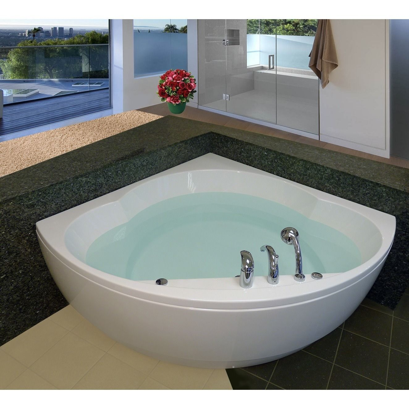 Aquaticas Cleopatra corner tub is made from premium acrylic material ...