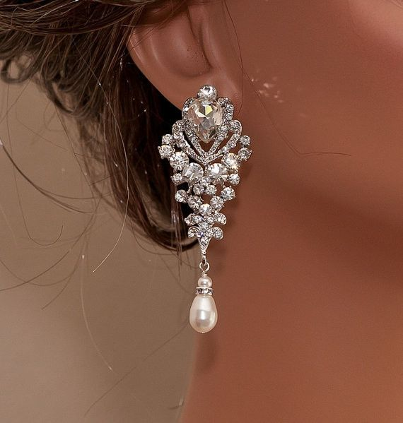ARIANA - Rhinestone and Swarovski Pearl Bridal Earrings | Pearl ...