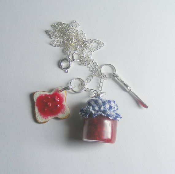 Jelly/Jam Sandwich Cluster Pendant Necklace  Miniature by NeatEats, £13.99