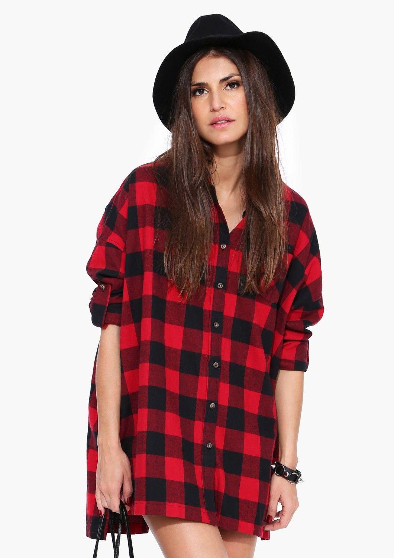 Carolina oversized plaid shirt in red plaid shirt women
