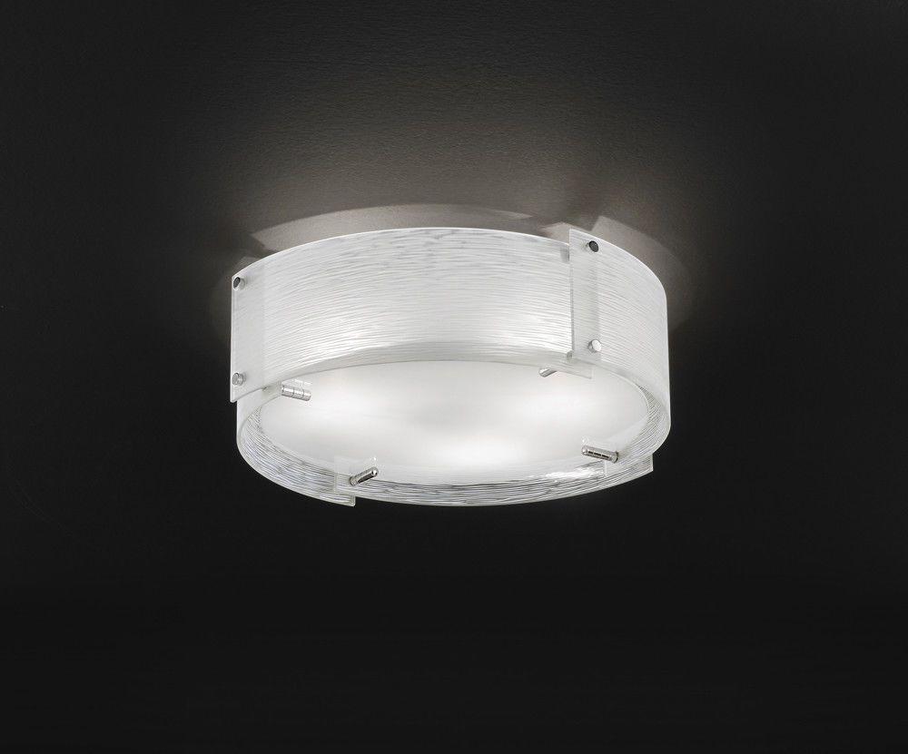 Plafoniere Con Vetro Trasparente : Dettagli su plafoniera tonda cromo lucido con vetro satinato