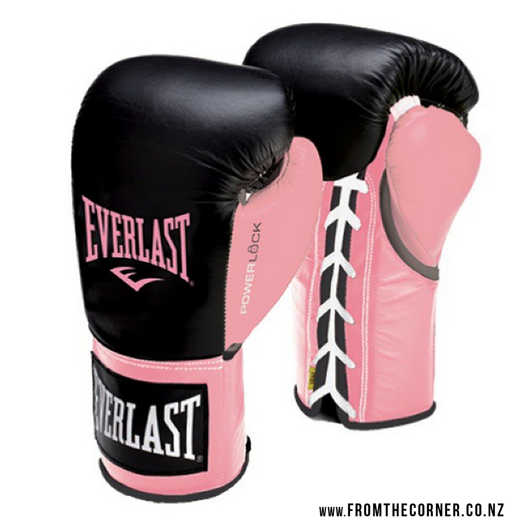 c69987be5 Custom-made Everlast PowerLock boxing gloves with pink thumb in support of  the fight against Breast Cancer.