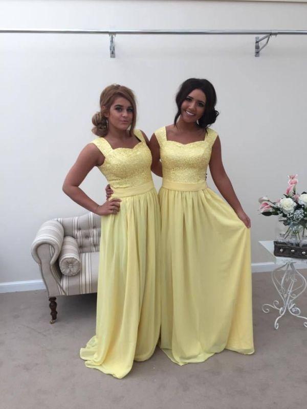 5406c37ada4c YELLOW LEMON 2 SHOULDER CHIFFON LACE BRIDESMAID WEDDING DRESS LONG MAXI  CHARLOTT