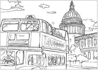 London Bus Colouring Page St Pauls Cathedral
