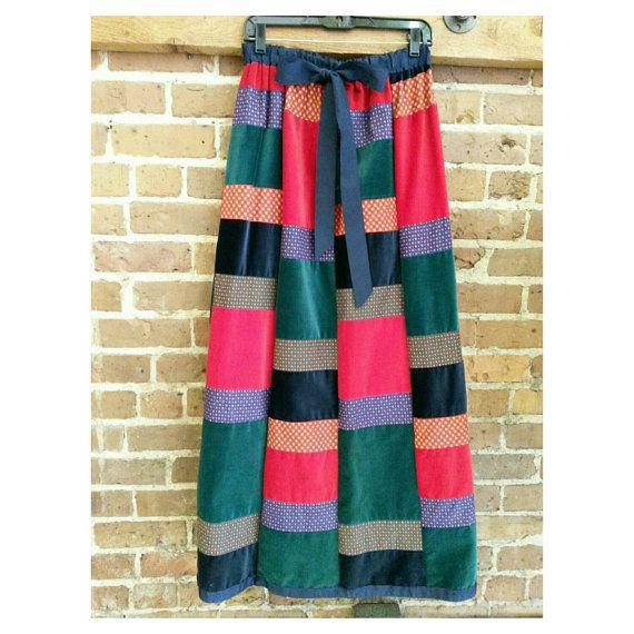 aa9b799fa Vintage 70s Velvet Patchwork Maxi Skirt - Turtlegreen- medium ...