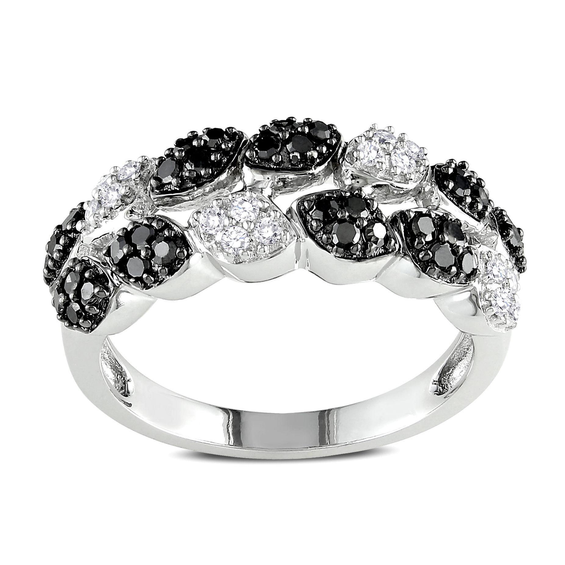 Miadora signature collection 14k white gold 1ct tdw diamond double row - Miadora 14k White Gold 1 2ct Tdw Black And White Diamond 2 Row Ring