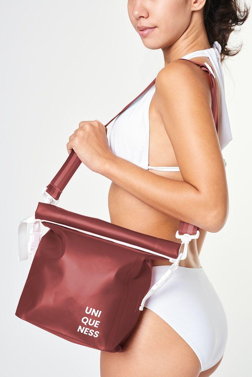 Download Download Premium Illustration Of Brown Waterproof Bag Mockup And A Girl In