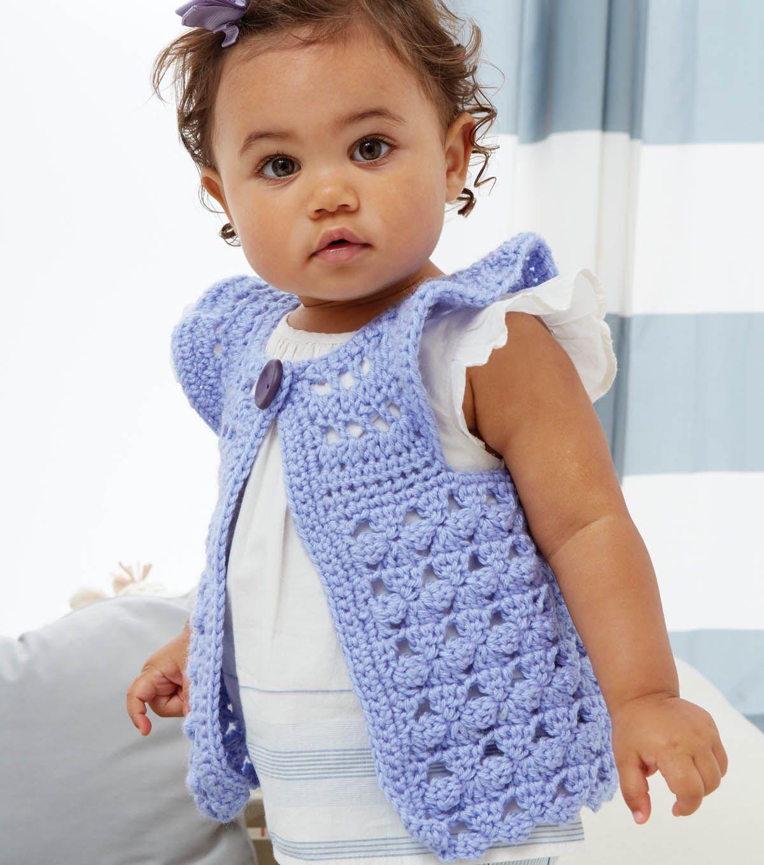 Flutter by crochet baby vest.  Free pattern