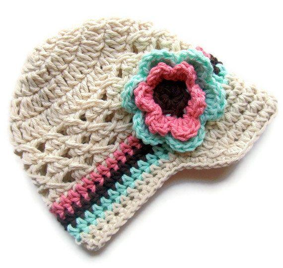 Girls Crochet Hat, Baby Girl Crochet Hat, Crochet Visor Hat, Baby ...