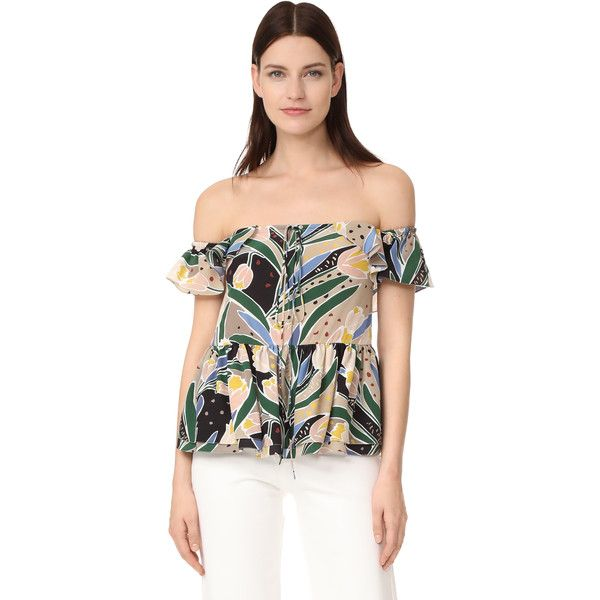 Rochas Print Off Shoulder Top (24.802.340 VND) ❤ liked on Polyvore featuring a47c8d229