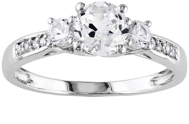 10k White Gold Lab-Created White Sapphire Diamond Accent 3-Stone Wedding Ring
