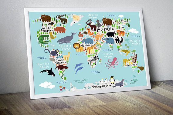 Kinderzimmer Welt Karte Plakat Karten Kindergarten Weltkarte
