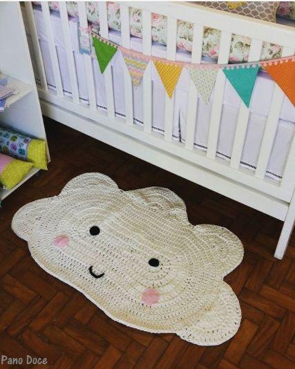 Tapete de croche para quarto de bebe com grafico