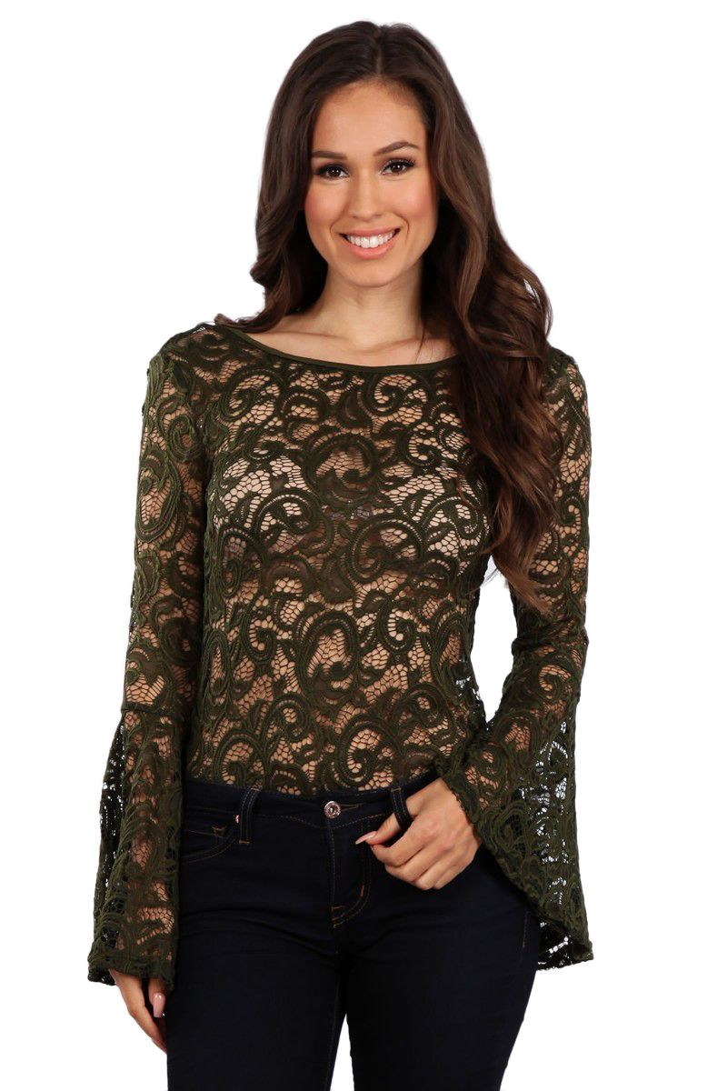 Lace bodysuit with jeans  Bell Sleeve Lace Bodysuit